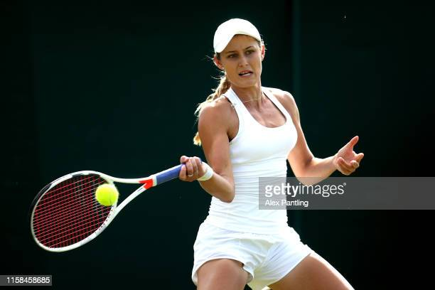 Kaylah McPhee of Australia plays a forehand during her ladies singles match against Liudmila Samsonova of Russia during qualifying prior to The...