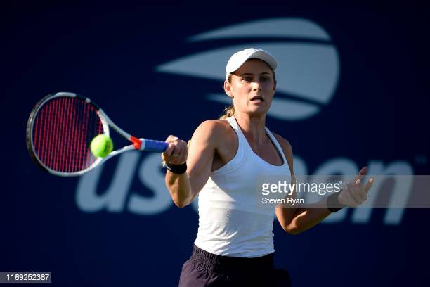 Kaylah McPhee of Australia returns a shot during her women's singles first round match against Nicole Gibbs of the United States on Day Two of the...