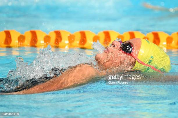 Kaylee Mckeown of Australia competes during the Women's 400m Individual Medley Heat 2 on day one of the Gold Coast 2018 Commonwealth Games at Optus...