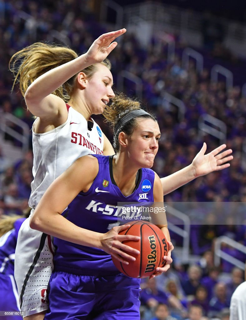 Kaylee Page #1 of the Kansas State Wildcats grabs a rebound against Alanna Smith #11 of the Stanford Cardinal during the second round of the 2017 NCAA Women's Basketball Tournament at Bramlage Coliseum on March 20, 2017 in Manhattan, Kansas.
