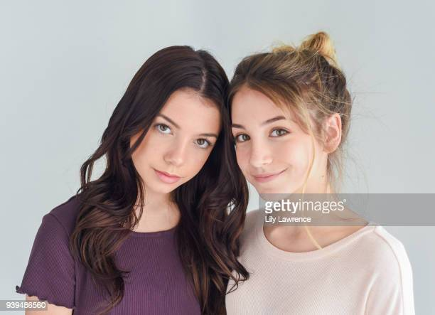 Kaylee Quinn and Rihanna Quinn pose for portrait wearing Moonstar Beauty at The Artists Project Giveback Day on March 28 2018 in Los Angeles...
