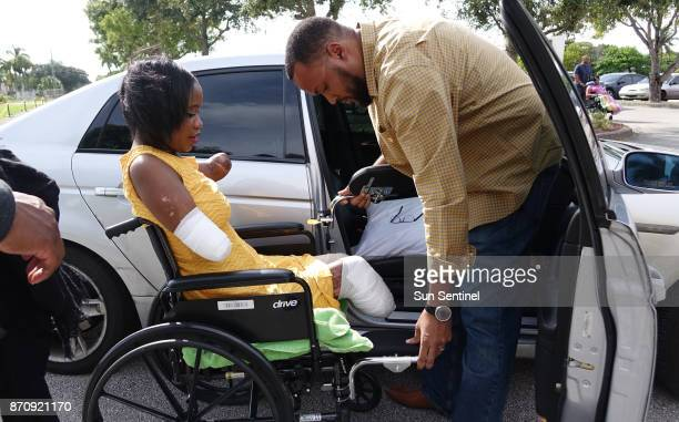 Kayleigh FergusonWalker who lost her limbs because of a sepsis infection is helped into a car by her husband Ramon on Saturday Sept 2 after a welcome...
