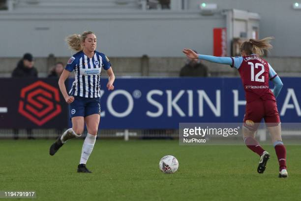 Kayleigh Green of Brighton and Hove Albion Women taking on Kate Longhurst of West Ham United Women during the Barclays FA Women's Super League match...