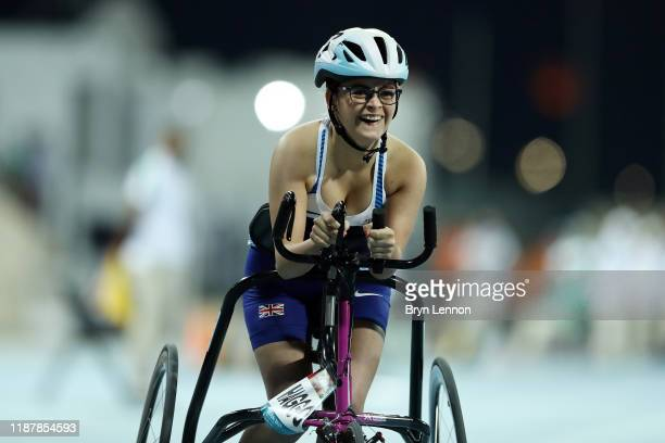 Kayleigh Haggo of Great Britain in action in the Women's 100m RR3 during Day Nine of the IPC World Para Athletics Championships 2019 Dubai on...
