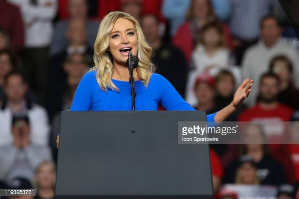 """Kayleigh McEnany, national press secretary for the Donald Trump 2020 presidential campaign, speaks at a """"Keep America Great"""" campaign rally on..."""
