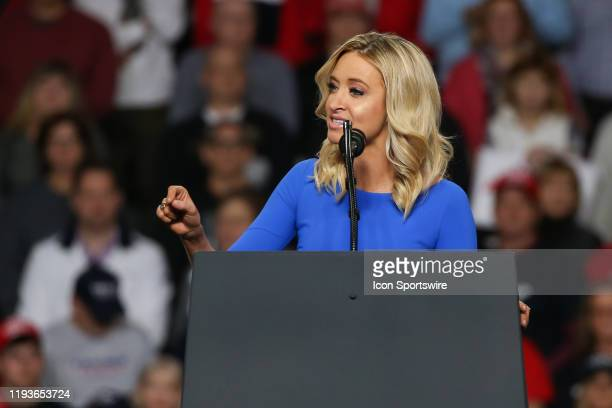 Kayleigh McEnany national press secretary for the Donald Trump 2020 presidential campaign speaks at a Keep America Great campaign rally on January 9...
