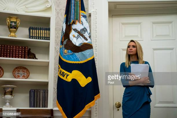 Kayleigh McEnany, the White House press secretary, attends a signing ceremony for H.R. 266, the Paycheck Protection Program and Health Care...