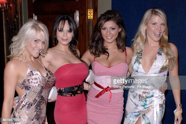 Kayleigh Pearson Jerri Bryne Krystal and Vanessa Nimmo during the Maxim King of Poker Tournament at the Cafe De Paris central London