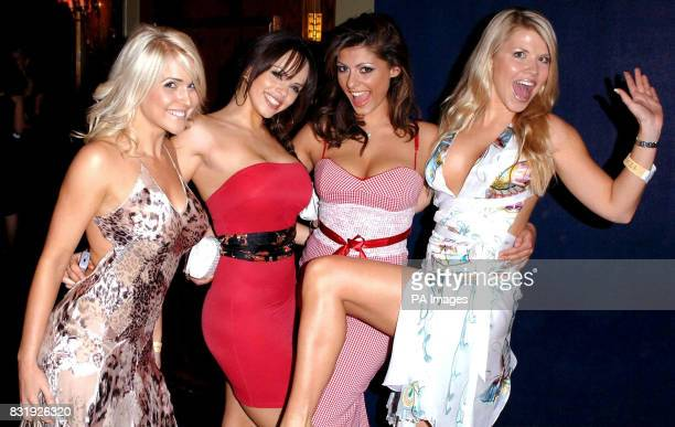 Kayleigh Pearson Jerri Byrne Krystal and Vanessa Nimmo during the Maxim King of Poker Tournament at the Cafe De Paris central London