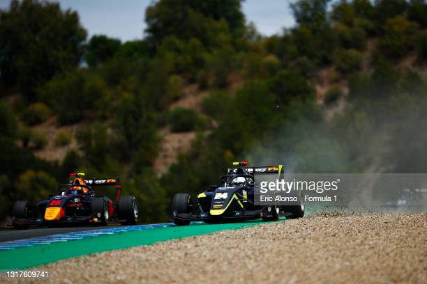 Kaylen Frederick of United States and Carlin Buzz Racing drives at Circuito de Jerez on May 12, 2021 in Jerez de la Frontera, Spain.