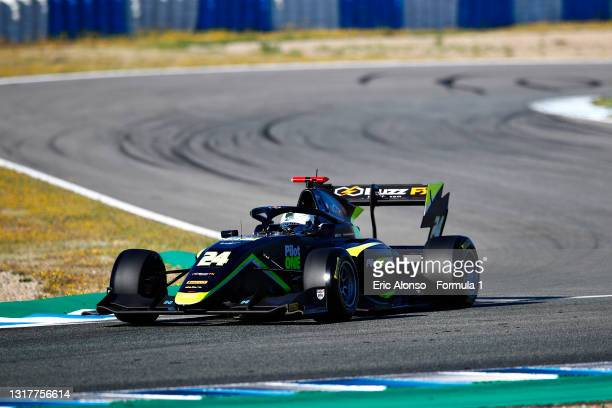 Kaylen Frederick of United States and Carlin Buzz Racing drives during day two of Formula 3 Testing at Circuito de Jerez on May 13, 2021 in Jerez de...