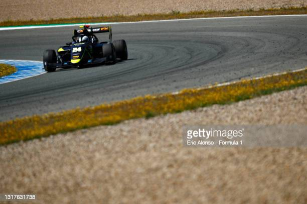 Kaylen Frederick of United States and Carlin Buzz Racing drivesat Circuito de Jerez on May 12, 2021 in Jerez de la Frontera, Spain.