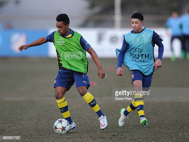 Kaylen Hinds and Chiori Johnson of Arsenal warm up before the match between Atletico Madrid and Arsenal in the UEFA Youth League at on January 27...