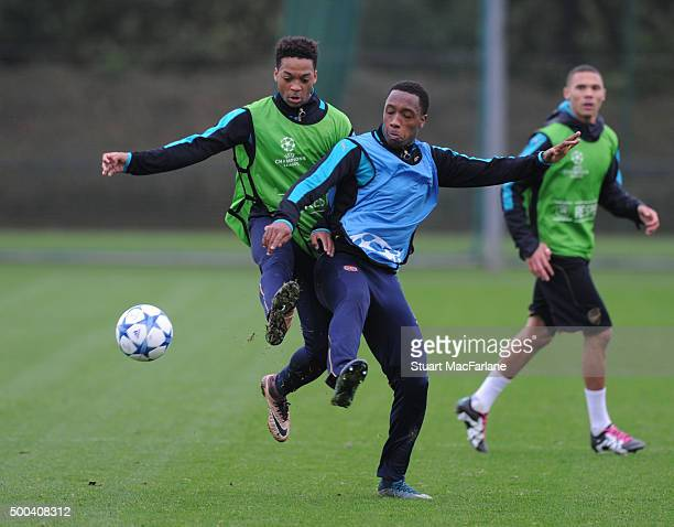 Kaylen Hinds and Chris Willock of Arsenal during an Arsenal training session ahead of the UEFA Champions League match against Olympiacos at London...