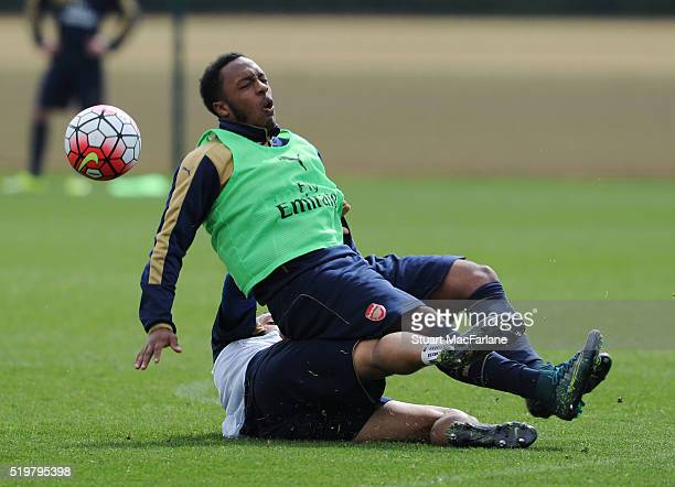 Kaylen Hinds and Francis Coquelin of Arsenal during a training session at London Colney on April 8 2016 in St Albans England