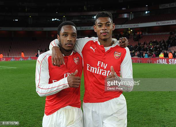 Kaylen Hinds and Jeff ReineAdelaide of Arsenal celebrate after the match between Arsenal U18 and Liverpool U18 in the FA Youth Cup 6th round at...