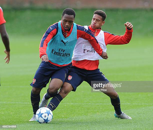 Kaylen Hinds and Marcus AgyeiTabi of Arsenal during the U19 training session at London Colney on September 15 2015 in St Albans England
