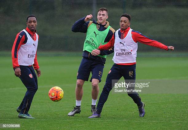 Kaylen Hinds Calum Chambers and Chris Willock of Arsenal during a training session at London Colney on December 12 2015 in St Albans England