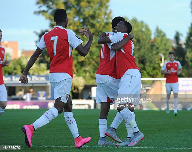 Kaylen Hinds celebrates scoring a goal for Arsenal during the match between Arsenal U21 and Derby County U21 at Meadow Park on August 21 2015 in...