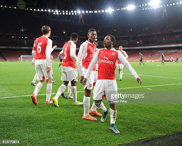 Kaylen Hinds celebrates scoring Arsenal's 2nd goal during the match between Arsenal U18 and Liverpool U18 in the FA Youth Cup 6th round at Emirates...