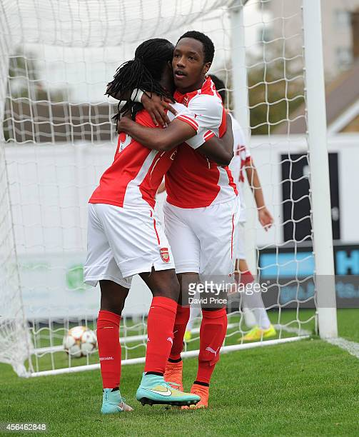 Kaylen Hinds celebrates scoring Arsenal's 2nd with Tafari Moore during the UEFA Youth League match between Arsenal and Galatasaray at Meadow Park on...