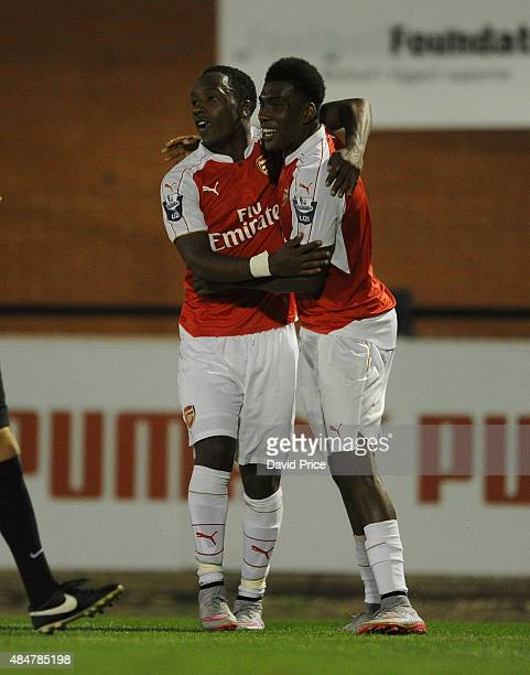 Kaylen Hinds celebrates scoring Arsenal's 3rd goal with Alex Iwobi during the match between Arsenal U21 and Derby County U21 at Meadow Park on August...