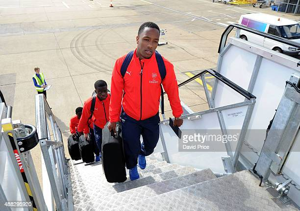 Kaylen Hinds of Arsenal boards the plane for the flight to Zagreb ahead of their UEFA Champions League match against Dinamo Zagreb on September 15...