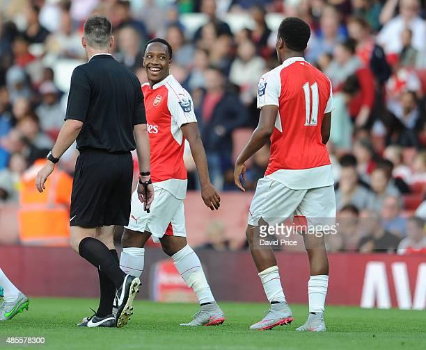 Kaylen Hinds of Arsenal celebrates scoring the 1st Arsenal goal during the match between Arsenal U21 and West Ham United U21 at Emirates Stadium on...