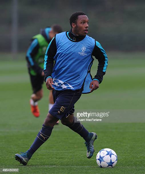 Kaylen Hinds of Arsenal during a training session at London Colney on November 3 2015 in St Albans England