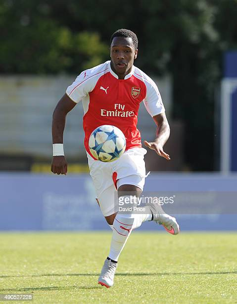 Kaylen Hinds of Arsenal during the match between Arsenal and Olympiacos in the UEFA Youth League on September 29 2015 in Borehamwood United Kingdom