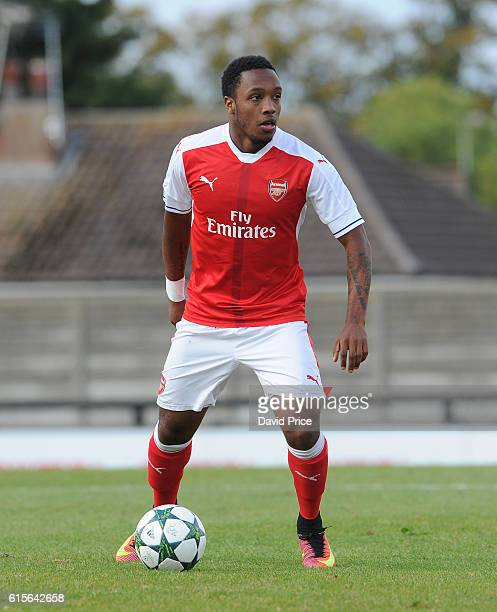 Kaylen Hinds of Arsenal during the match between Arsenal and Ludogorets Razgrad in the UEFA Youth League at Meadow Park on October 19 2016 in...