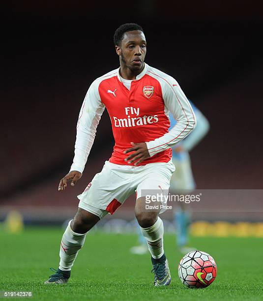 Kaylen Hinds of Arsenal during the match between Arsenal U18 and Manchester City U18 at Emirates Stadium on April 4 2016 in London England