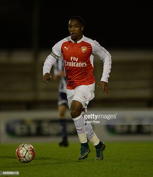 Kaylen Hinds of Arsenal during the match between Arsenal U18 and West Bromwich Albion U18 in the FA Youth Cup at Meadow Park on December 4 2015 in...