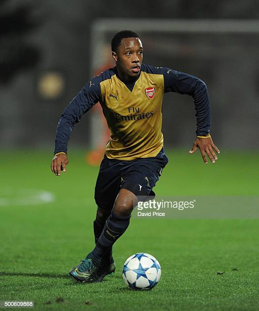 Kaylen Hinds of Arsenal during the match between Olympiacos and Arsenal on December 9 2015 in Piraeus Greece
