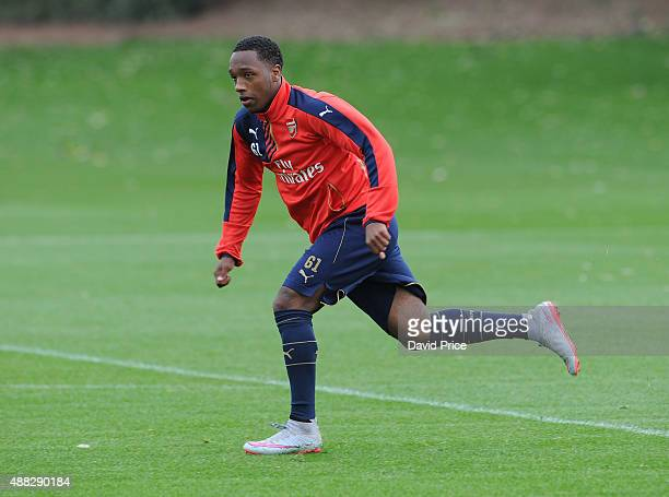 Kaylen Hinds of Arsenal during the U19 training session at London Colney on September 15 2015 in St Albans England