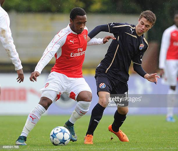 Kaylen Hinds of Arsenal holds off Matija Fintic of Zagreb during the match between Arsenal U19 and Dinamo Zagreb U19 in the UEFA Youth League on...