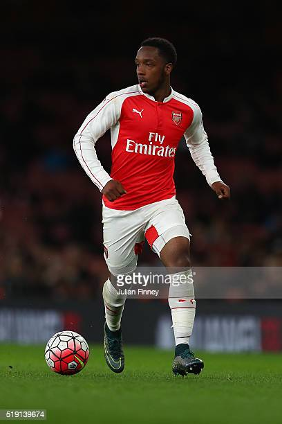 Kaylen Hinds of Arsenal in action during the FA Youth Cup semifinal second leg match between Arsenal and Manchester City at Emirates Stadium on April...