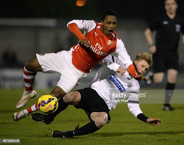 Kaylen Hinds of Arsenal is fouled by Gus Morris of Royston during the match between Arsenal U18 and Royston Town U18 in the FA Youth Cup 4th Round at...