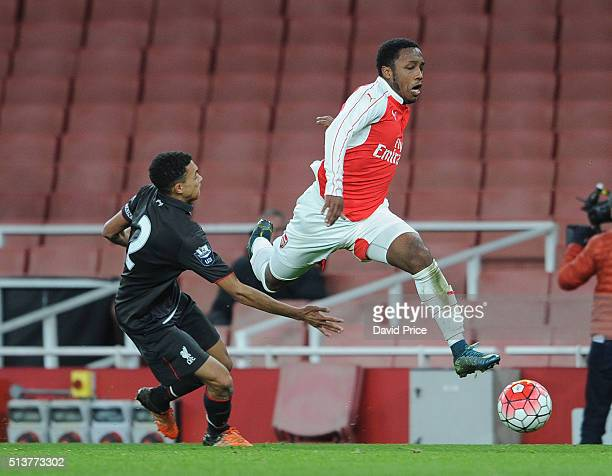 Kaylen Hinds of Arsenal takes on Trent AlexanderArnold of Liverpool during the match between Arsenal U18 and Liverpool U18 in the FA Youth Cup 6th...