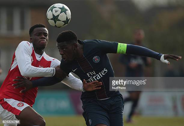 LR Kaylen Hinds of Arsenal Under 19s and Felix Eboa Eboa of Paris SaintGermain Under 19s during UEFA Youth League match between Arsenal against Paris...