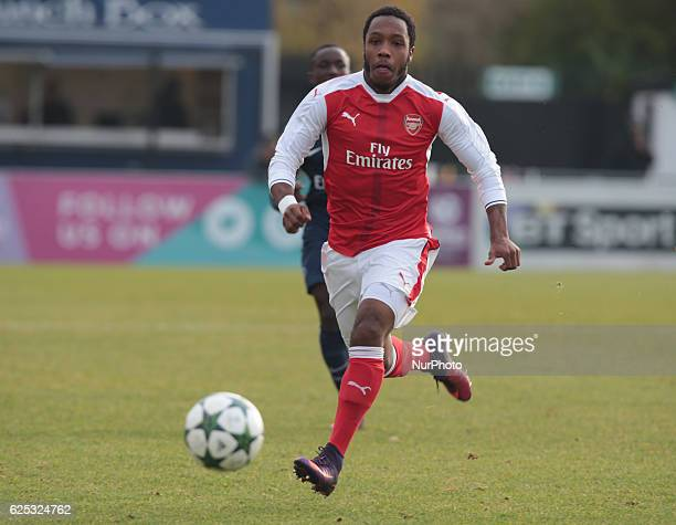 Kaylen Hinds of Arsenal Under 19s during UEFA Youth League match between Arsenal against Paris SaintGermain at Boreham Wood Football Club on November...