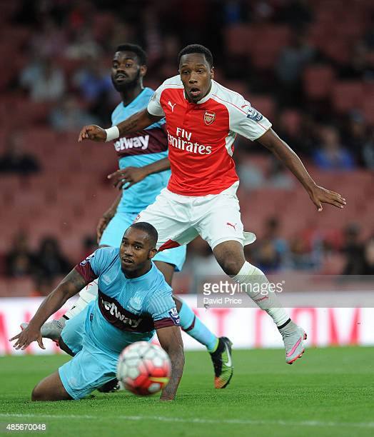 Kaylen Hinds of Arsenal under pressure from Emmanuel Onariase of West Ham during the match between Arsenal U21 and West Ham United U21 at Emirates...