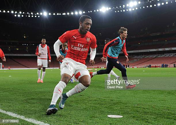 Kaylen Hinds of Arsenal warms up before the match between Arsenal U18 and Liverpool U18 in the FA Youth Cup 6th round at Emirates Stadium on March 4...