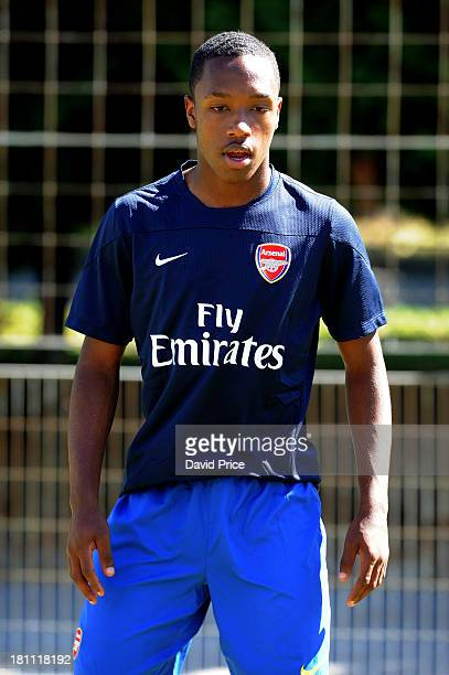 Kaylen Hinds of Arsenal warms up before the UEFA Youth League match between Olympic Marseille U19 and Arsenal U19 on September 18 2013 in Marseille...