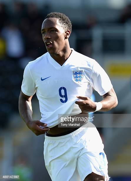 Kaylen Hinds of England celebrates scoring their fourth goal during the International match betweeen Engand Under 17 and Italy Under17 at Pirelli...