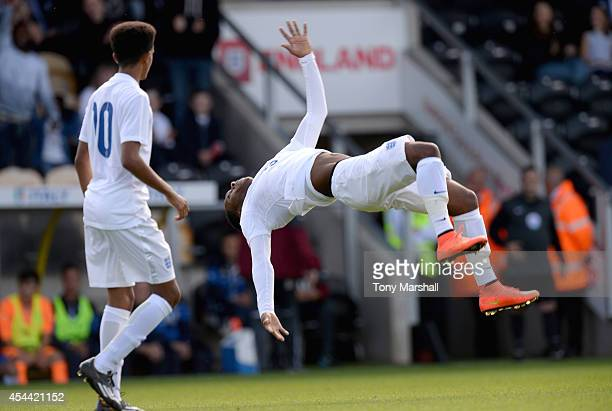 Kaylen Hinds of England celebrates scoring their second goal during the International match betweeen Engand Under 17 and Italy Under17 at Pirelli...