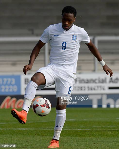 Kaylen Hinds of England during the International match betweeen Engand Under 17 and Italy Under17 at Pirelli Stadium on August 31 2014 in...