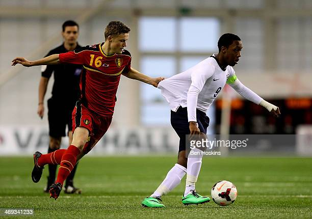 Kaylen Hinds of England has his shirt pulled by Matisse Thuys of Belgium during a U16 International match between England and Belgium at St Georges...