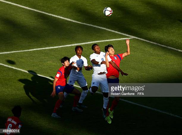 Kaylen Hinds of England heads the ball during the FIFA U17 World Cup Group B match between Korea Republic and England at Estadio Francisco Sanchez...