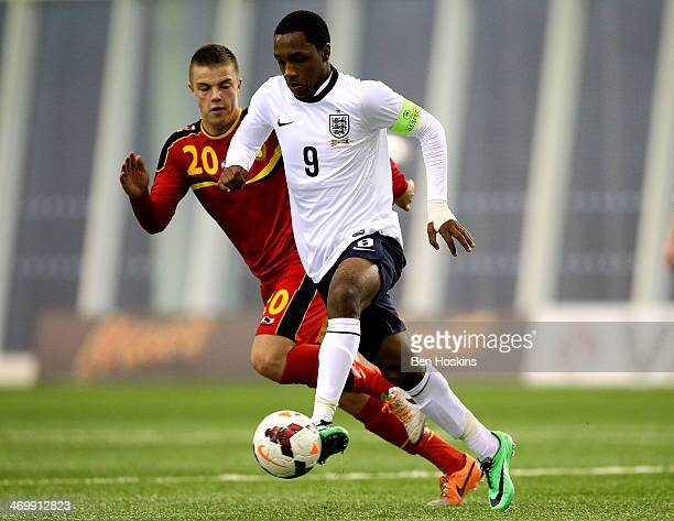 Kaylen Hinds of England holds off pressure from Jorn Van Camp of Belgium during a U16 International match between England and Belgium at St Georges...